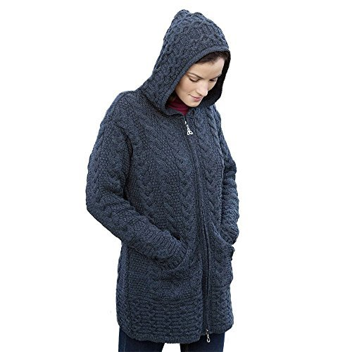 100% Irish Merino Wool Ladies Hooded Aran Zip Sweater Coat, Charcoal, Small