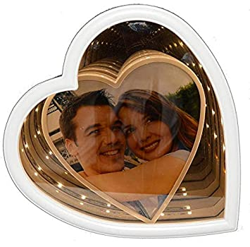 Buy Magic Mirror Photo Frame With Led Light And Heart Shape White Online At Low Prices In India Amazon In