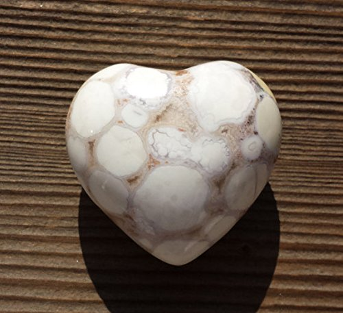 [A&S Crystals] NATURAL FOSSIL JASPER Gemstone Puffy Heart 40-45mm