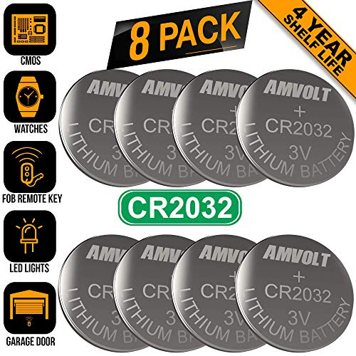 (8 Pack AmVolt CR2032 Battery [Ultra Power] 20MM - Best 3 Volt Lithium Watch Batteries - 600mAh - 3V CMOS Coin Button Cell - Fob Car Remote Key CR 2032 [Expires 2023])