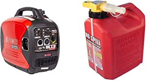 A-iPower SUA2000iV 2000 Watt Portable Inverter Generator Quiet Operation, Lightweight & No-Spill 1405 2-1/2-Gallon Poly Gas Can