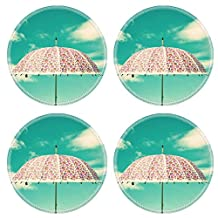 Liili Natural Rubber Round Coasters IMAGE ID 32575949 Colorful vintage umbrella with cloudy sky