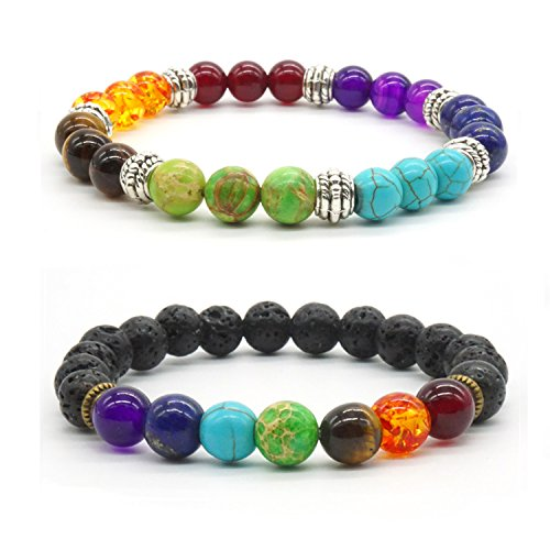2x Handmade Buddha Bracelet Colored Agate Bead Lovers Bracelet Set Energy Healing Balance Stone Bracelet