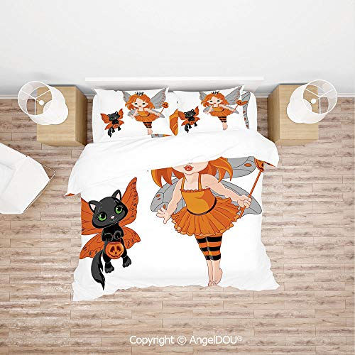 PUTIEN 4 Pieces (1 Duvet Cover +1 Sheet+ 2 Pillow Shams) Home Bedding Sets Duvet Cover Sets,Halloween Baby Fairy and Her Cat in Costumes Butterflies Girls Kids Room Decor Decorative,Quilt Cover for W ()