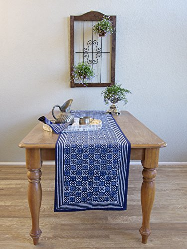 Starry Nights ~ Blue Batik Table Runner (Hand Batik Cotton Table Runner)