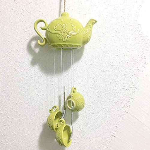 Nantucket Home Porcelain Teapot and Cup Wind Chime - Yellow ()
