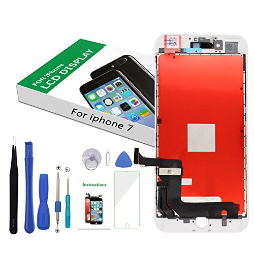Screen Replacement for iPhone 7 White, LCD Display Touch Screen Digitizer Replacement Full Assembly with Repair Tool Kit(iPhone 7, White)