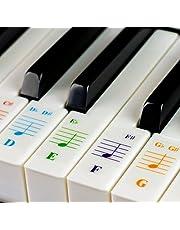 Gekleurde pianostickers voor 88/76/61/54/49/37 toetsen keyboards - transparant en afneembaar: Made in USA