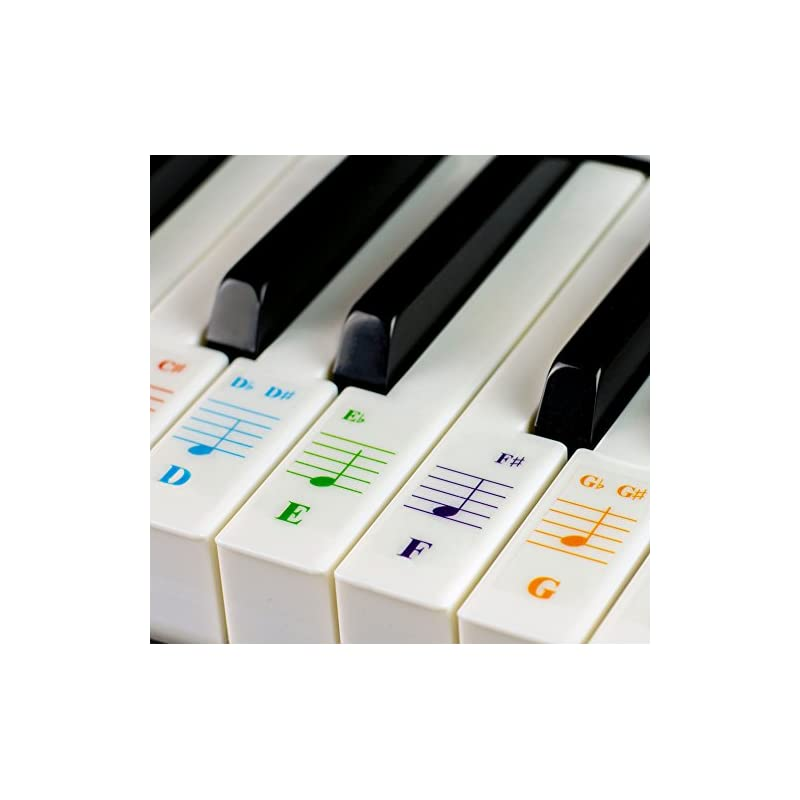 Color Piano Stickers for 49/61/ 76/88 Ke