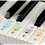 QMG Color Piano Stickers for 49 / 61/ 76 / 88 Key Keyboards – Transparent and Removable: Made in USA