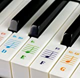 Color Piano Stickers for 49/61/ 76/88 Key Keyboards - Transparent and Removable with Free Piano Ebook: Made in USA