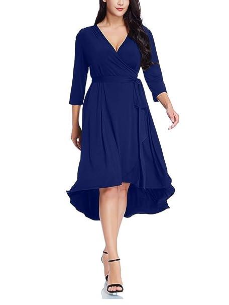 Hannavivi Women\'s Casual Plus Size 3/4 Sleeve Maternity Dress Plain Wrap  Midi Dresses