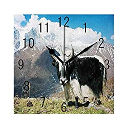 FUWANK Square Wall Clock Battery Operated Quartz Analog Quiet Desk 8 Inch Clock, Indigenous Bull in The Mountains Picture Rural Nature Wilderness Agriculture Theme