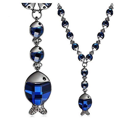 Yuriao Jewelry Elegant Cute Little Crystal Fish Statement Necklace(blue)