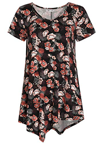 Esenchel Women's V-Neck Swing Shirt Casual Tunic Top for Leggings XL Coralrose