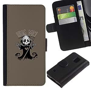 All Phone Most Case / Oferta Especial Cáscara Funda de cuero Monedero Cubierta de proteccion Caso / Wallet Case for Samsung Galaxy S5 V SM-G900 // Cute Grim Reaper Skeleton - Hug Me