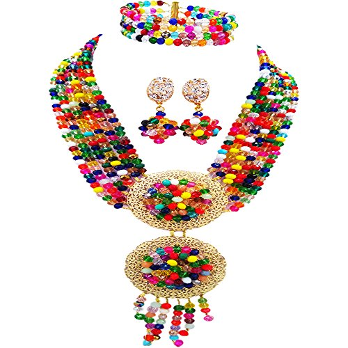 (acuzv 6 Rows African Necklaces for Women Nigerian Beads Jewelry Set Wedding Bridal Party Jewelry Sets (Multicolors))