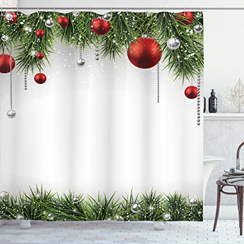 Ambesonne Christmas Shower Curtain, Cloth Fabric Bathroom Decor Set with Hooks, Baubles Pine Tree, 70 Long