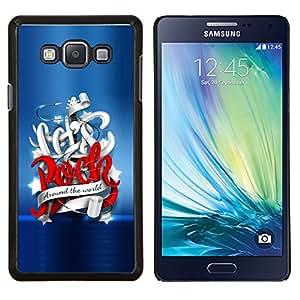 KLONGSHOP // Cubierta de piel con cierre a presión Shell trasero duro de goma Protección Caso - Vamos a Rock Around The World - Samsung Galaxy A7 A7000 //