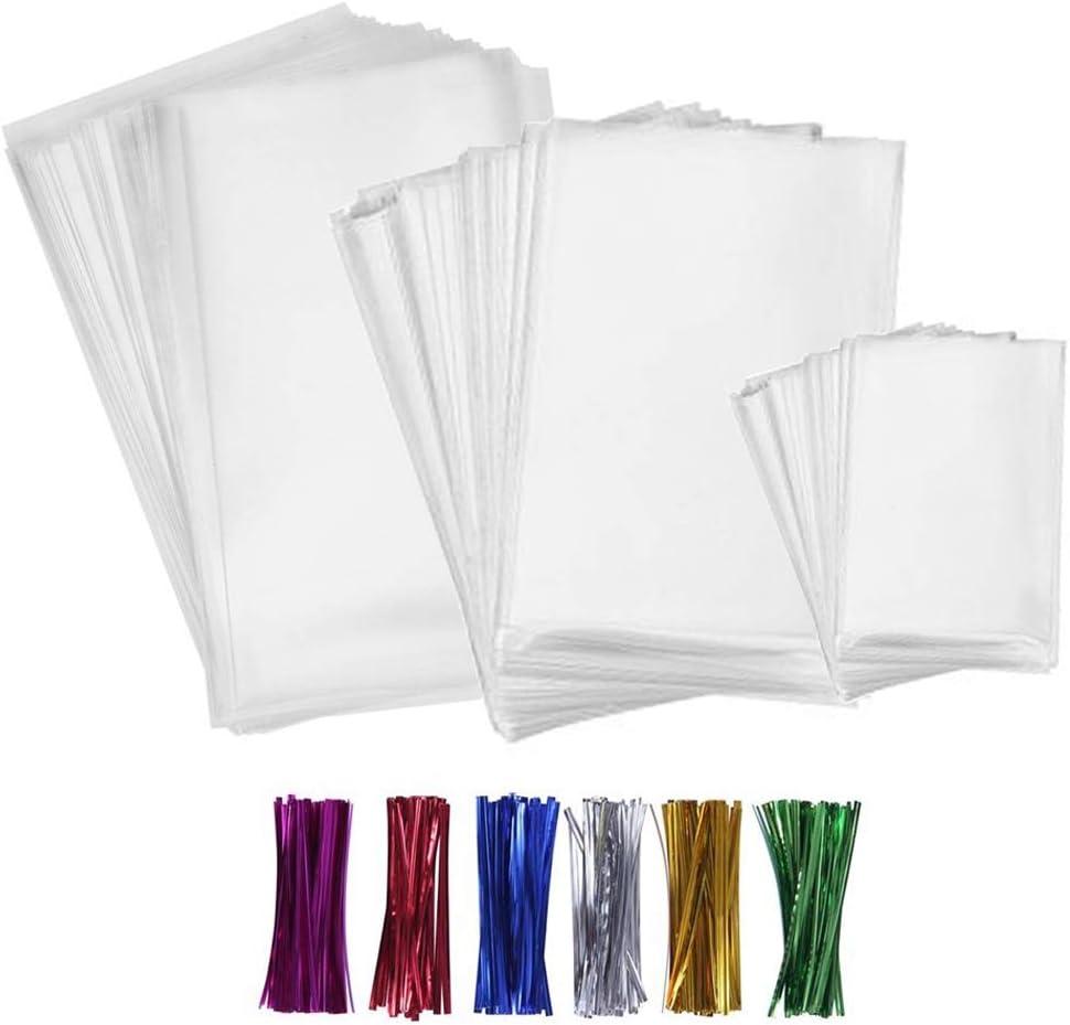 SWZY Treat Bags, 300 bolsas de celofán transparentes para tratar con lazos de 10 cm x 15 cm, 6 colores variados, caramelo, pan de chocolate, gelatina