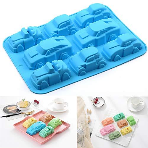 PONECA Silicone Molds Soap Molds 8 Cavity House &Car Shape Cake