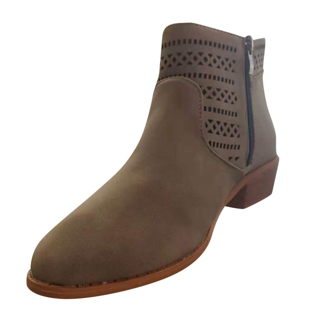 JJHAEVDY Women's Round Toe Faux Suede Stacked Heel Western Ankle Bootie Stylish Comfortable Casual Boots with Zipper by JJHAEVDY