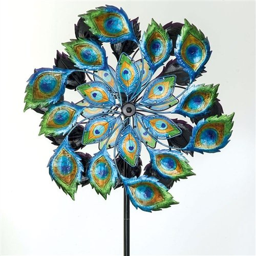 Peacock Solar Multi-Color Wind Spinner Outdoor Lawn Garden Decor by Unknown (Image #1)