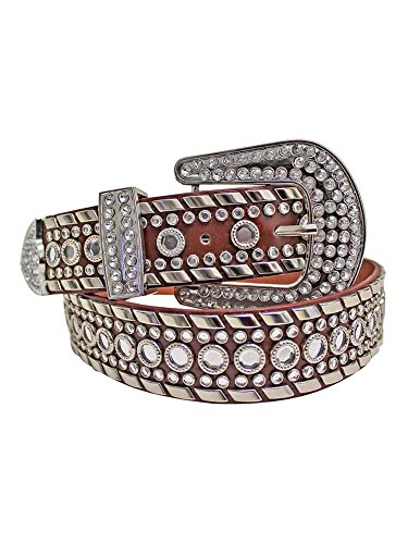 Brown Rhinestone Studded Western Belt For Women Size Medium -