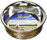 Loving Pets Fleur De Lis Bella Bowl for Dogs, Small, Antique Gold