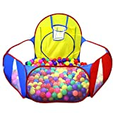WER Ball Pit Play Tent with Basketball Hoopfor Kids Indoor Pop Up Ball Play Tent Portable Playhouse Ball Pit Pool Playpen - Great Outdoor Toddler Toys(Balls Not Included)