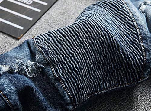 Casual Moda Jeans Deshilachados Rasgados Dunkelblau De Retro Skinny Desgaste De Mezclilla Fit Mezclilla Biker Moto Ren Pantalones Pantalones Slim Pantalones Mezclilla De gHERAwwxq