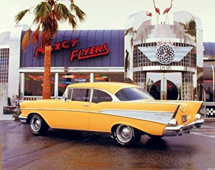 Amazon.com: 1957 Yellow Chevy Bel Air Vintage Classic Car Picture ...