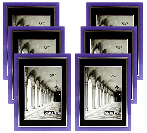Studio 500, 5 by 7-inch from our Modern Collection, Colorful Sleek Frames (EPF1313) in various colors - Purple Frame