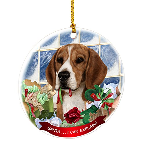 Beagle Santa I Can Explain Happy Howliday Round White Porcelain Hanging Ornament Picture