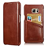 Galaxy S6 Edge Plus Leather Case, Icarercase Premium Genuine Leather Wallet Case Slim Style with 2 Card Slots, Vintage Folio Cover for Samsung Galaxy S6 Edge Plus 5.7 Inch (Brown)