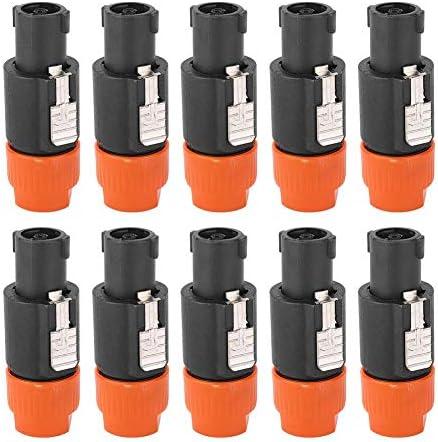 10PCSオーディオスピーカーコネクタC-NL4FCスピコンプラグケーブルコネクタ防水4ピンオーディオビデオコネクタ(オレンジ)