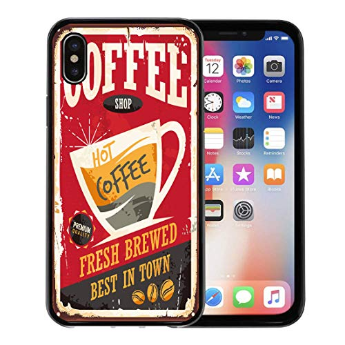 or Apple iPhone Xs case,Coffee Retro Tin Sign on Red Cafe Bar Interior Promotional Material Vintage Cup and Beans for iPhone X Case,Rubber Border Protective Case,Black ()