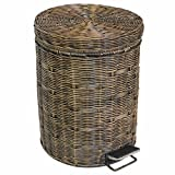 Trash Cans Meters Fashion retro personality hand-woven creative foot-type home kitchen antique trash (Size : 5L)