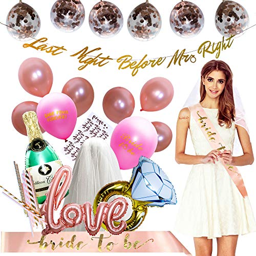 Bachelorette Party Decorations Kit | Rose Gold Bridal Shower Supplies | Bride To Be Sash and Veil, Gold Banner | 10 Rose Gold Tattoos, Paper Straws | Champagne + Ring Foil Balloon | 14 Latex Balloons