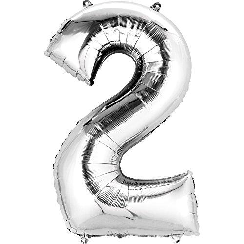 Burton & Burton Number 2 Foil Balloon, Silver -