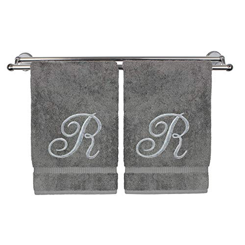 el, Personalized Gift, 16 x 30 Inches - Set of 2 - Silver Embroidered Towel - Extra Absorbent 100% Turkish Cotton- Soft Terry Finish - for Bathroom, Kitchen and Spa- Script R Gray ()