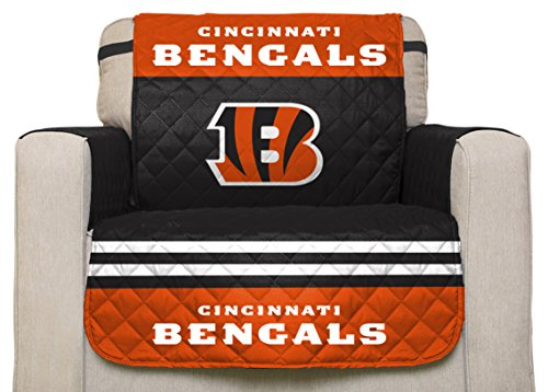 Pegasus Sports NFL Cincinnati Bengals Chair Reversible Furniture Protector  With Elastic Straps, 75 Inches