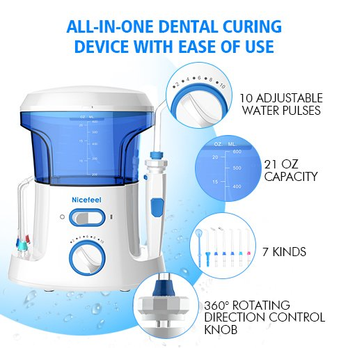 Nicefeel Electric Dental Water Flosser 600ml Capacity Quite Design(50db)Anti-leakage Professional Countertop Dental Oral Irrigator with 7 Multifunctional Tips for Adult and Kids by Nicefeel (Image #3)