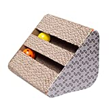PanDaDa Funny Pet Cat Kitten Toys Sided Bell Corrugated Scratch Board Pad Scratcher Bed Mat Claws Care Toy Scratching Post with Catnip