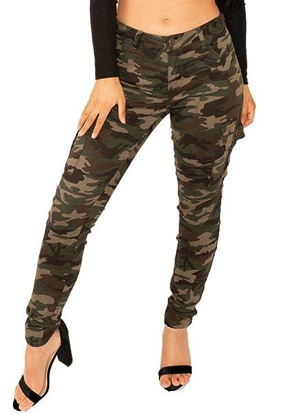 4258e338411 Pantalón Cargo Camuflado Oscuro Estilo Slim Militar para Mujer ...