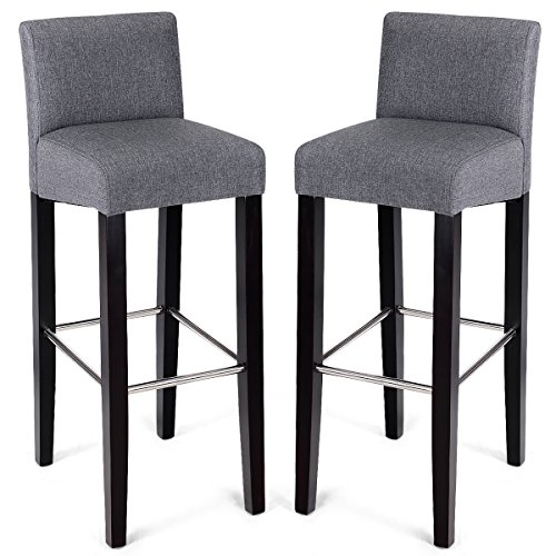 "COSTWAY 40"" Fabric Bar Stool Modern Contemporary Bar Height Fabric Backed Padded Seat Pub Bistro Kitchen Dining Side Chair Barstools with Solid Wood Legs (Gray, 2)"
