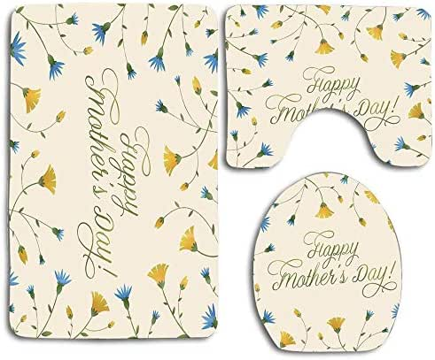 PlayGiao Decorated Bath Mat Carpet Rug Washable Non-Slip 3 Piece Bathroom Mat Set Happy Mothers Day Yellow Blue Carnations Flowers