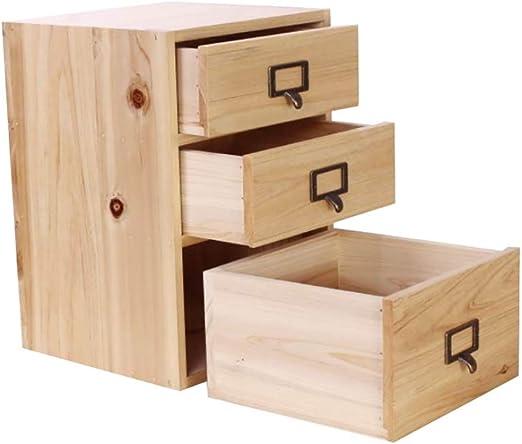 Storage Caja de Almacenamiento Escritorio de Oficina Caja de Almacenamiento Gabinete pequeño Tres cajones Madera sólida Clasificación cosmética Caja de Almacenamiento: Amazon.es: Hogar