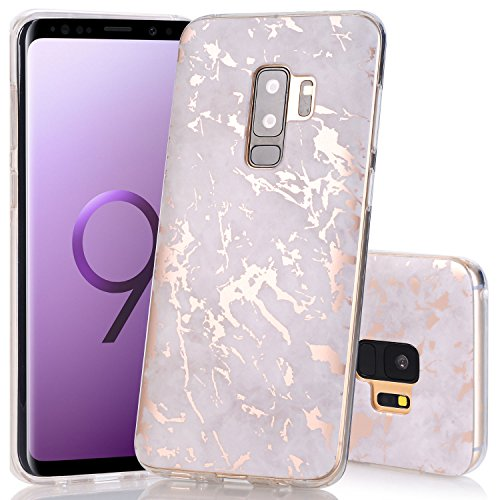 Galaxy S9 Plus Case, Shiny Rose Gold Grey Marble Design BAISRKE Slim Flexible Soft Silicone Bumper Shockproof Gel Clear TPU Rubber Glossy Skin Cover Case for Samsung Galaxy S9+ Plus