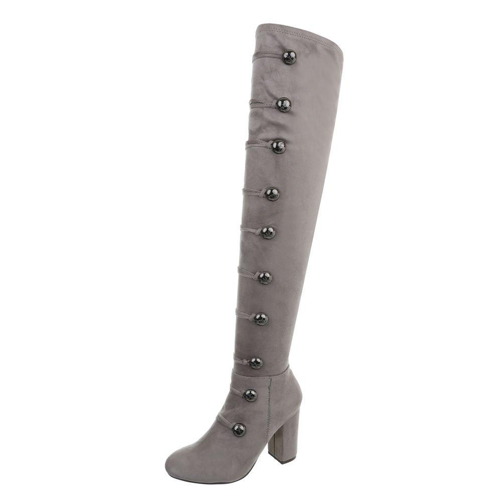 Ital-Design Overknees Damenschuhe Overknees Pump High Heels Reißverschluss Stiefel  40 EU|Grau Xk-0060